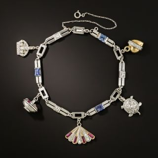 Art Deco Sapphire and Diamond Charm Bracelet - 2