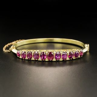 Victorian Ruby and Diamond Bangle Bracelet - 1