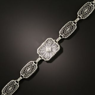 Vintage Rock Crystal Quartz and Diamond Filigree Bracelet - 1