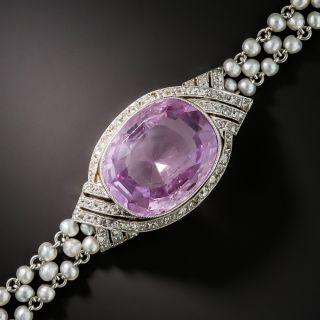 Edwardian 14.50 Carat No-Heat Pink Ceylon Sapphire Seed Pearl Bracelet - 1