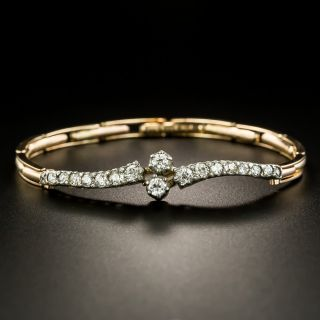 English Victorian Diamond Bypass Bracelet - 2