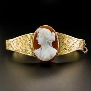 Victorian Hard Stone Cameo Bangle Bracelet - 1