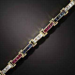 Estate Ruby, Sapphire and Diamond Link Bracelet - 1