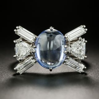 Estate Cabochon Sapphire and Diamond Bow Ring - 3