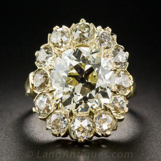 5.07 Carat Antique Cushion-Cut Diamond Halo Ring - GIA