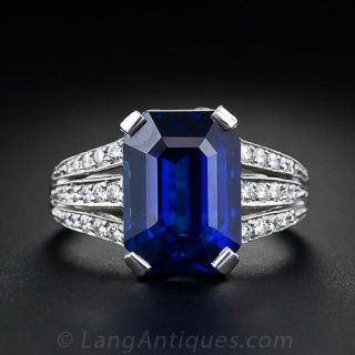 5.10 Carat Emerald-Cut Sapphire and Diamond Ring - 1