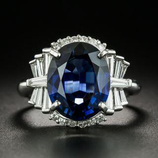5.18 Carat No-Heat Sapphire and Diamond Ring - GIA - 1