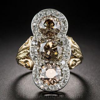 5.50 Carat Three-Stone Natural Cognac Diamond Edwardian Ring - 1