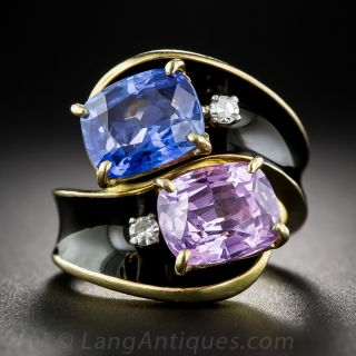 5.67 Carat Total, Twin Natural Sapphire and Enamel Ring, size 4 1/2 - 1