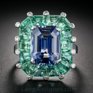 5.68 No-Heat Ceylon Sapphire and Green Beryl Cocktail Ring - 1