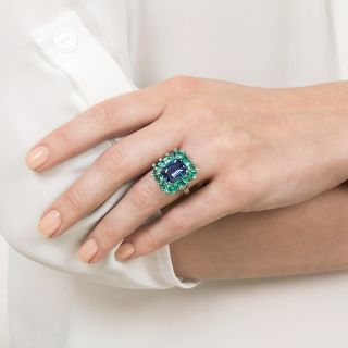 5.68 No-Heat Ceylon Sapphire and Green Beryl Cocktail Ring