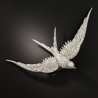 Large Edwardian Diamond Soaring Swallow Brooch - 2