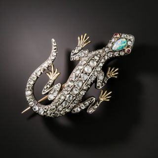 Victorian Diamond and Opal Lizard Brooch - 1