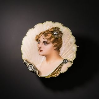 Art Nouveau Enamel Portrait and Diamond Pin - 2