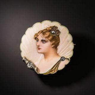 Art Nouveau Enamel Portrait and Diamond Pin - 2