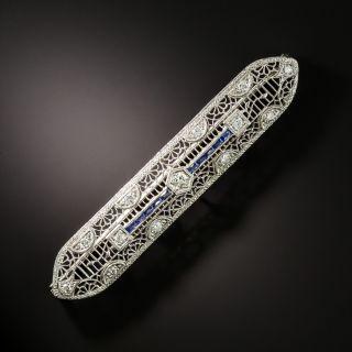Art Deco Diamond and Calibre Sapphire Filigree Bar Pin - 1