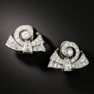 Late Art Deco Diamond Scroll Dress Clips/Earrings - 2