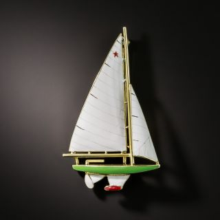 Vintage Enamel Sailboat Brooch by Sloan & Company - 1