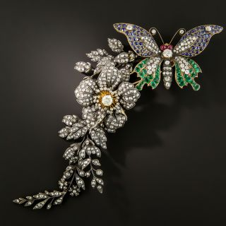Colossal Victorian En Tremblant Butterfly and Flower Brooch  - 2