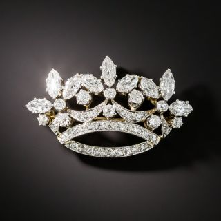 Edwardian Diamond Crown Brooch - 2