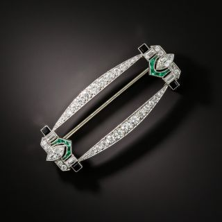 Art Deco Emerald, Onyx, and Diamond Brooch - 2