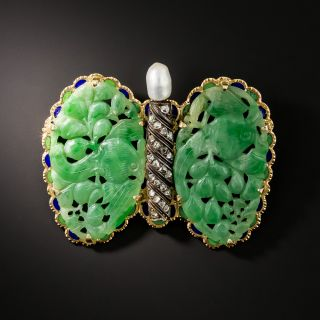 Vintage Carved Jade Wing Butterfly Brooch - GIA - 2