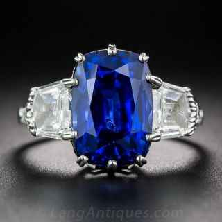 7.18 Carat No-Heat Cushion-Cut Sapphire Platinum and Diamond Ring - 1