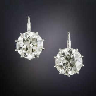 7.41 Carat European-Cut Diamond Stud Earrings - GIA - 1