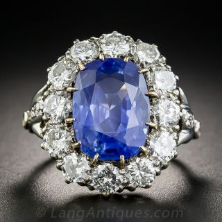 7.54 Carat No-Heat Ceylon Sapphire and Diamond Ring - 1