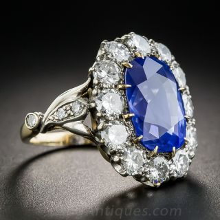 7.54 Carat No-Heat Ceylon Sapphire and Diamond Ring
