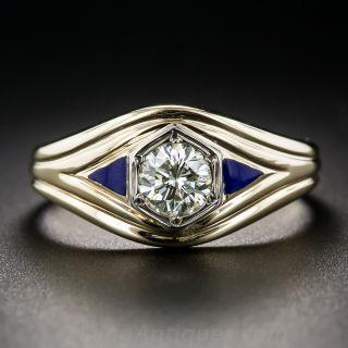 .70 Carat Diamond and Enamel Gent's Ring