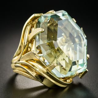 70 Carats Hexagonal Unheated Aquamarine Ring