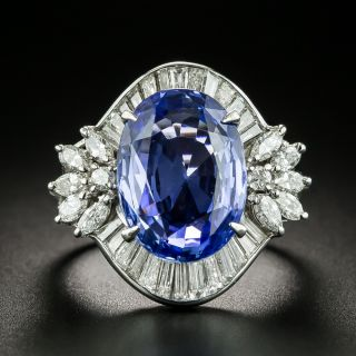 8.59 Carat No-Heat Ceylon Sapphire and Diamond Ring - GIA - 1