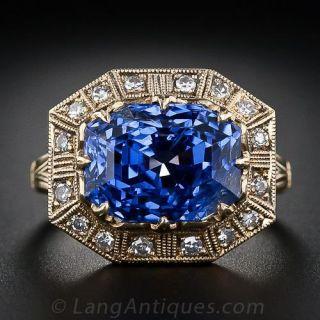 8.62 Carat Sapphire and Diamond Ring - 1