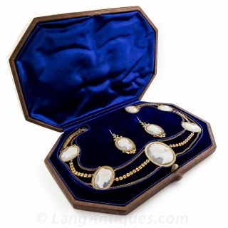 8 Cameo Necklace and Earrings in Fitted Box