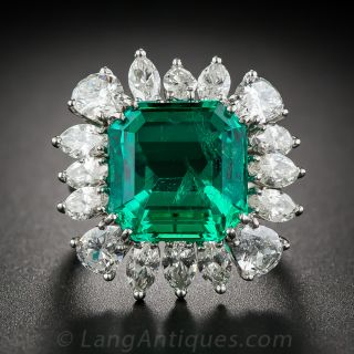 9.06 Carat Emerald and Diamond Ring - AGL Certified (Insignificant to Minor Treatment)  - 1