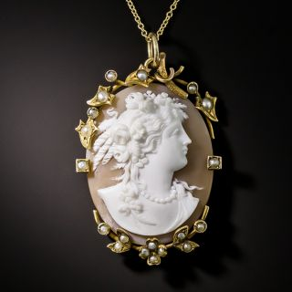 Victorian Shell Cameo and Pearl Pendant - 1