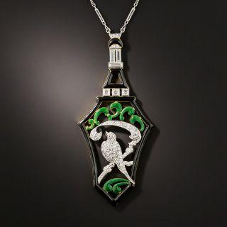 Art Deco Diamond and Enamel Bird Necklace - 1