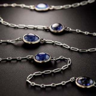 French Cabochon Sapphire Chain Necklace - 1