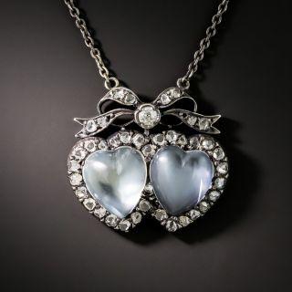 Victorian Double Moonstone Hearts Pendant - 1