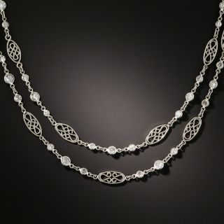 Long 8.25 Carat Diamond Platinum Chain Necklace - 1