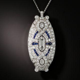 Art Deco Double-Bullet Diamond and Sapphire Pendant/Brooch - 1