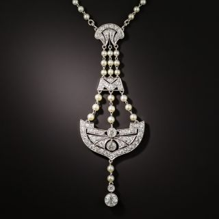 Edwardian Diamond and Natural Pearl Lavalière Necklace  - 1