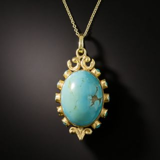 Vintage Double-Sided Turquoise Pendant - 2