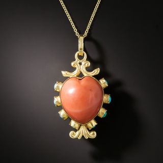 Vintage Double-Sided Heart Shape Coral and Turquoise Pendant - 2
