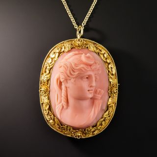 Selene 'Goddess Of The Moon' Coral Cameo Pendant/Brooch - 4