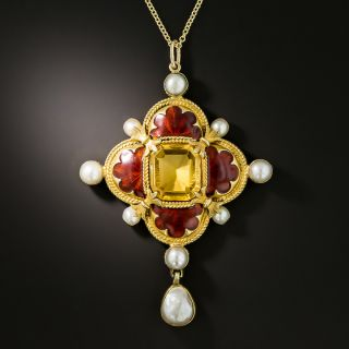 Antique Russian Citrine, Enamel and Pearl Necklace - 2