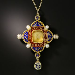 Antique Russian Citrine, Enamel and Pearl Necklace