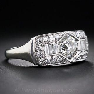 .93 Carat Center Mid-Century Diamond Band Ring