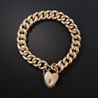9K Rose Gold English Curb Link Gate Bracelet